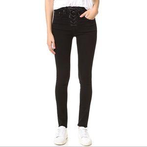 Rag & Bone/JEAN Coal Lace Up Skinny Jeans